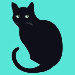 Black Cat illustration Glossy Print 8inx10in